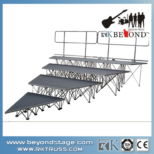 Adjustable portable mobile stage rental for church events
